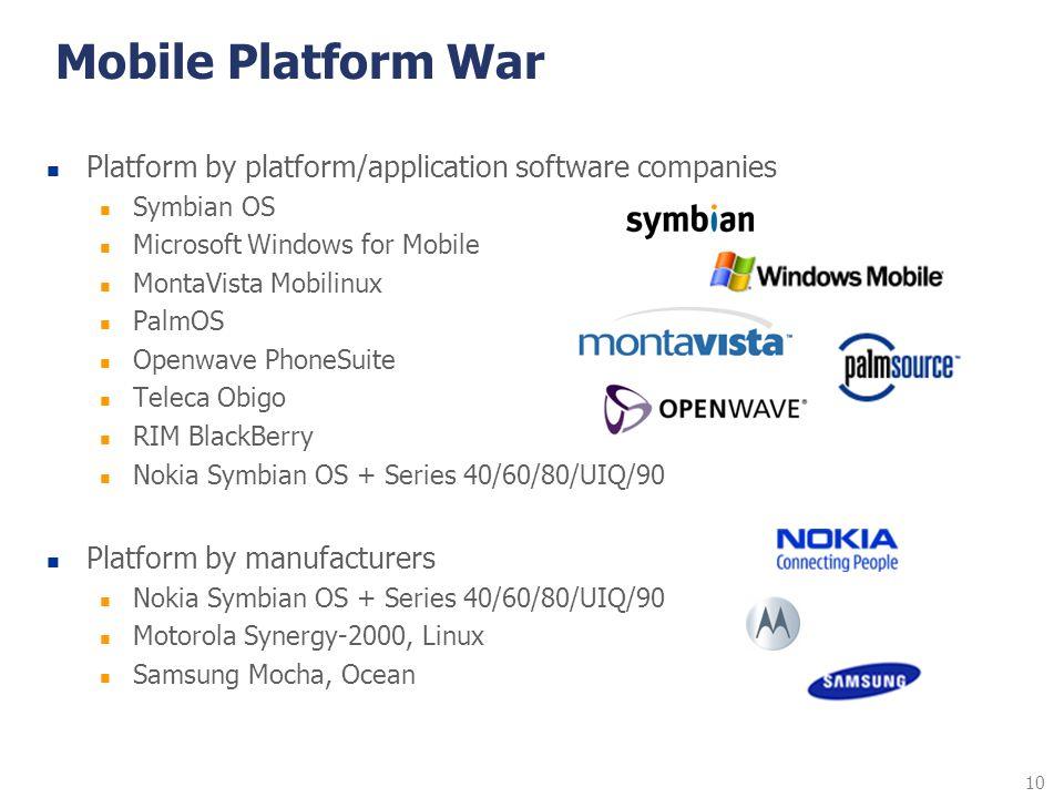 10 Mobile Platform War Platform by platform/application software companies Symbian OS Microsoft Windows for Mobile MontaVista Mobilinux PalmOS Openwav