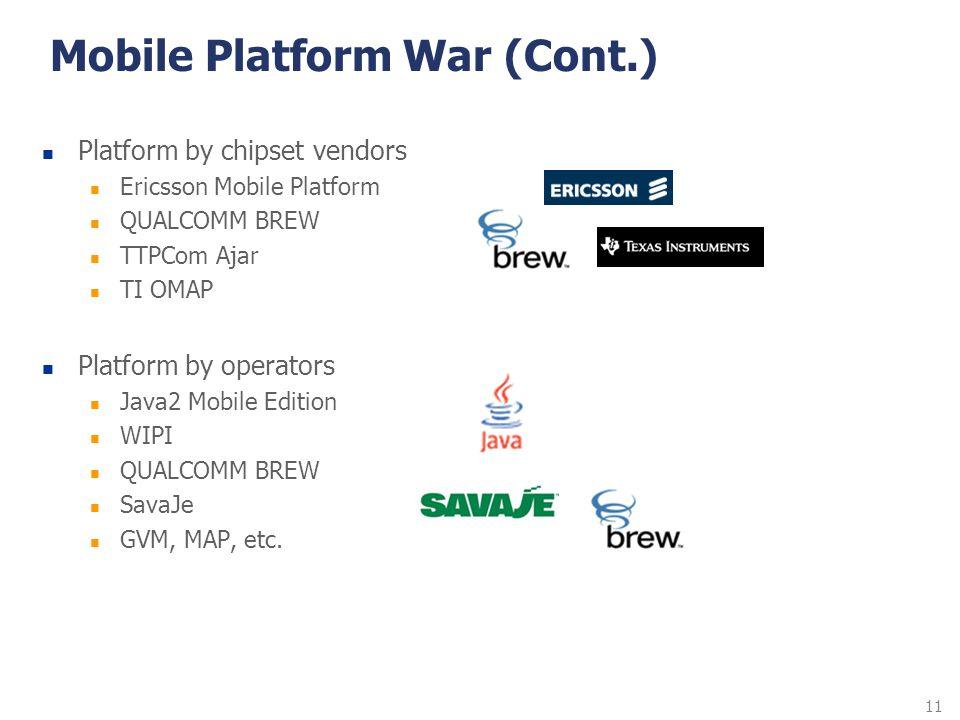 11 Mobile Platform War (Cont.) Platform by chipset vendors Ericsson Mobile Platform QUALCOMM BREW TTPCom Ajar TI OMAP Platform by operators Java2 Mobi