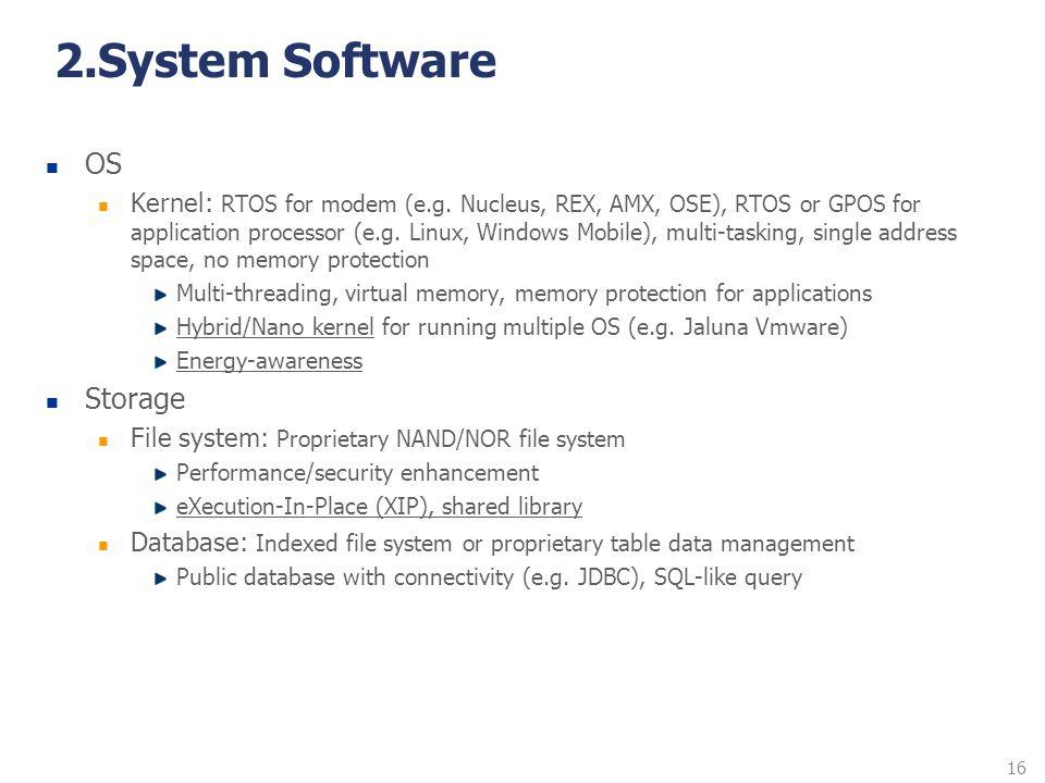 16 2.System Software OS Kernel: RTOS for modem (e.g. Nucleus, REX, AMX, OSE), RTOS or GPOS for application processor (e.g. Linux, Windows Mobile), mul