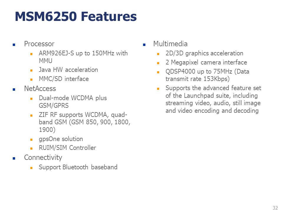 32 MSM6250 Features Processor ARM926EJ-S up to 150MHz with MMU Java HW acceleration MMC/SD interface NetAccess Dual-mode WCDMA plus GSM/GPRS ZIF RF su