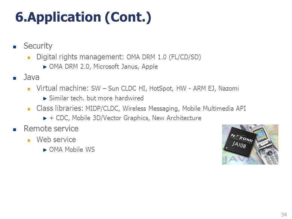 34 6.Application (Cont.) Security Digital rights management: OMA DRM 1.0 (FL/CD/SD) OMA DRM 2.0, Microsoft Janus, Apple Java Virtual machine: SW – Sun