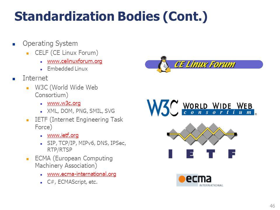 46 Standardization Bodies (Cont.) Operating System CELF (CE Linux Forum) www.celinuxforum.org Embedded Linux Internet W3C (World Wide Web Consortium)