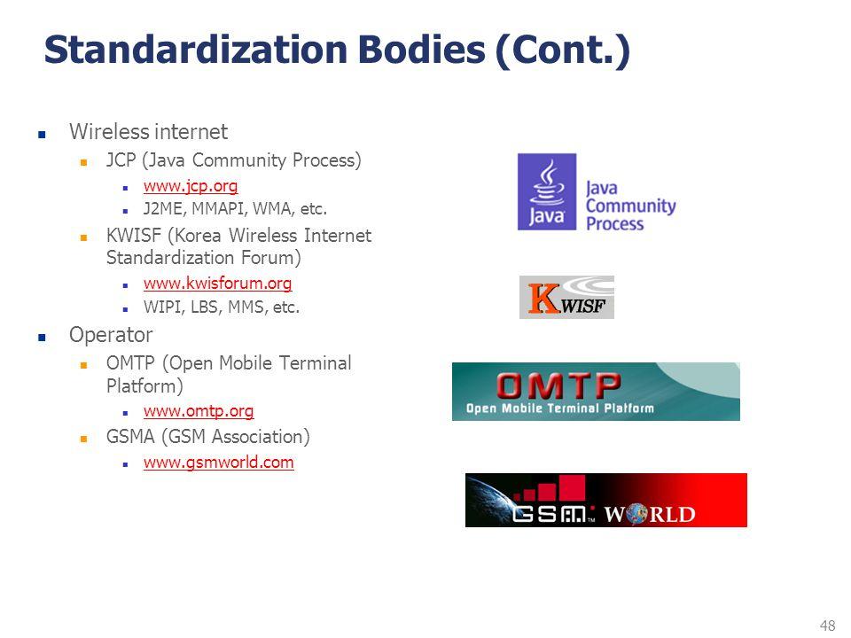 48 Standardization Bodies (Cont.) Wireless internet JCP (Java Community Process) www.jcp.org J2ME, MMAPI, WMA, etc. KWISF (Korea Wireless Internet Sta