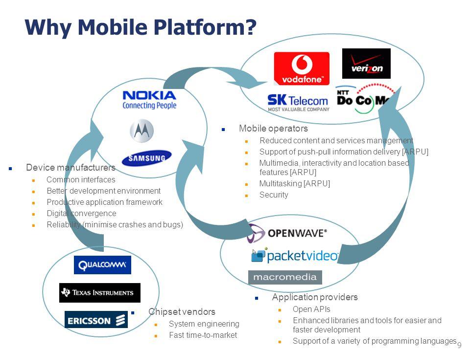 9 Why Mobile Platform? Device manufacturers Common interfaces Better development environment Productive application framework Digital convergence Reli