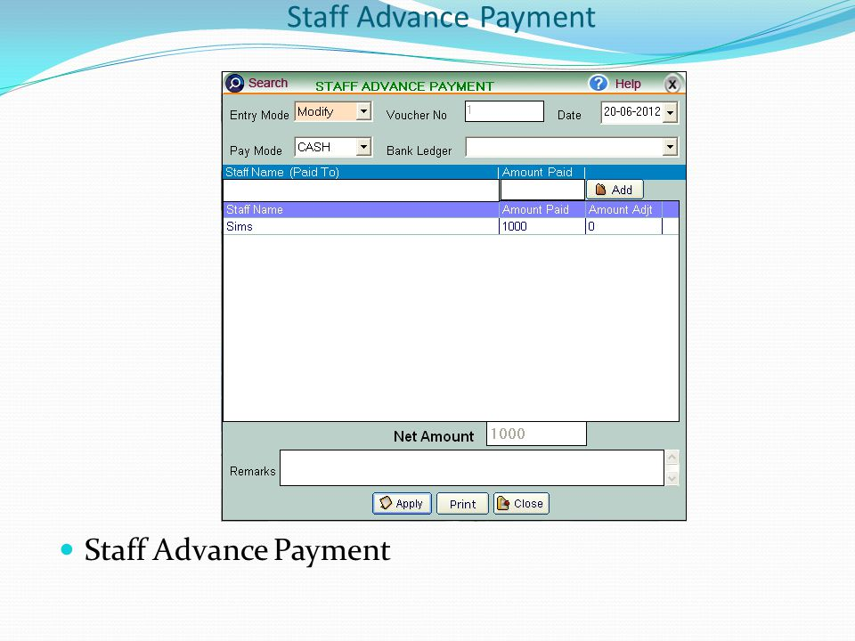 Staff Advance Payment
