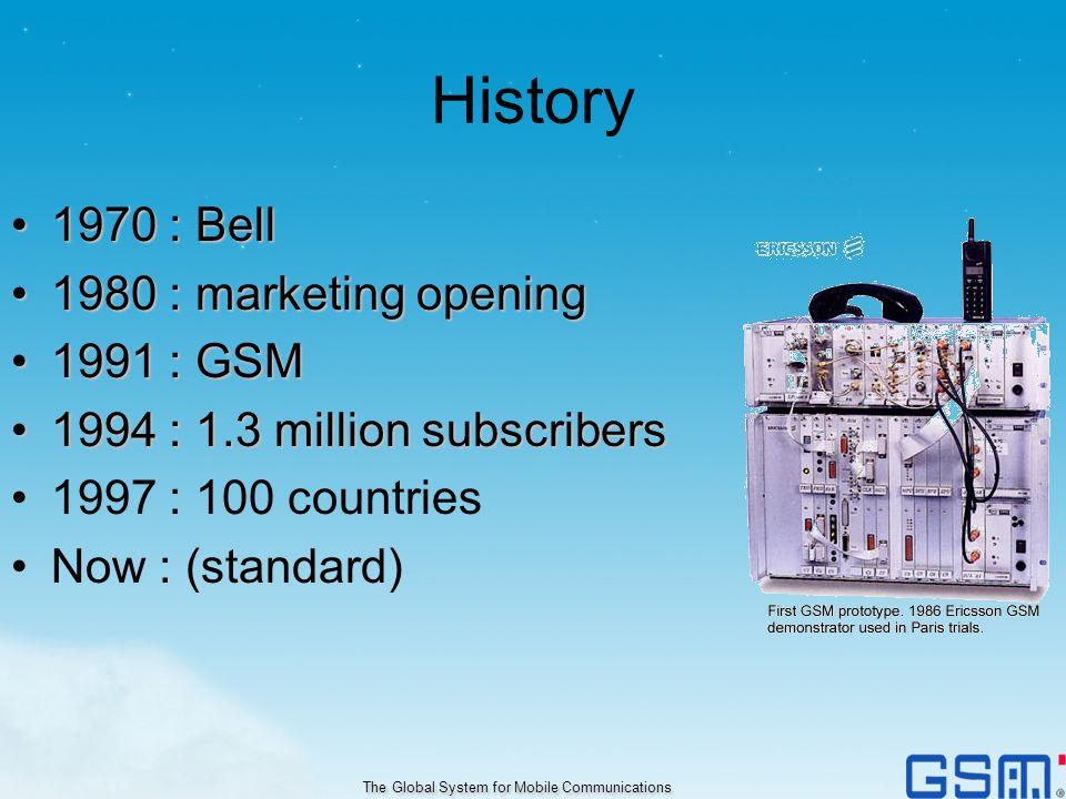 History 1970 : Bell1970 : Bell 1980 : marketing opening1980 : marketing opening 1991 : GSM1991 : GSM 1994 : 1.3 million subscribers1994 : 1.3 million