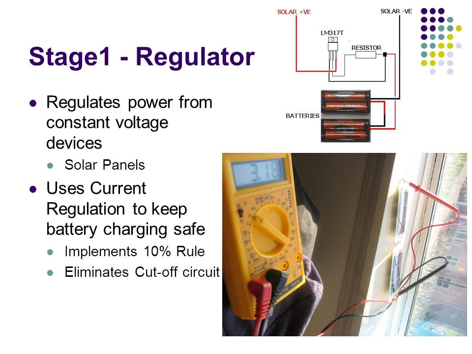 Stage1 - Regulator Regulates power from constant voltage devices Solar Panels Uses Current Regulation to keep battery charging safe Implements 10% Rule Eliminates Cut-off circuit