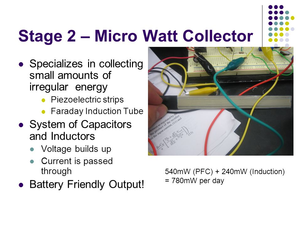 Stage 2 – Micro Watt Collector Specializes in collecting small amounts of irregular energy Piezoelectric strips Faraday Induction Tube System of Capacitors and Inductors Voltage builds up Current is passed through Battery Friendly Output.