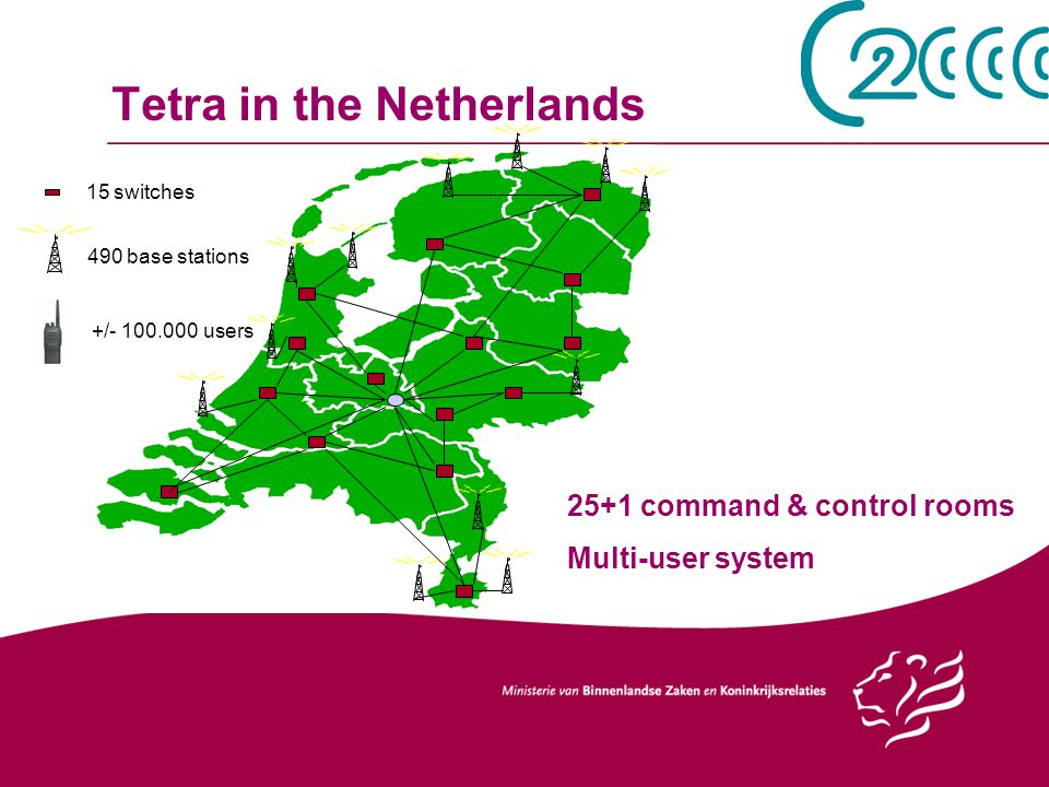 Tetra in the Netherlands 15 switches 490 base stations 25+1 command & control rooms Multi-user system +/- 100.000 users