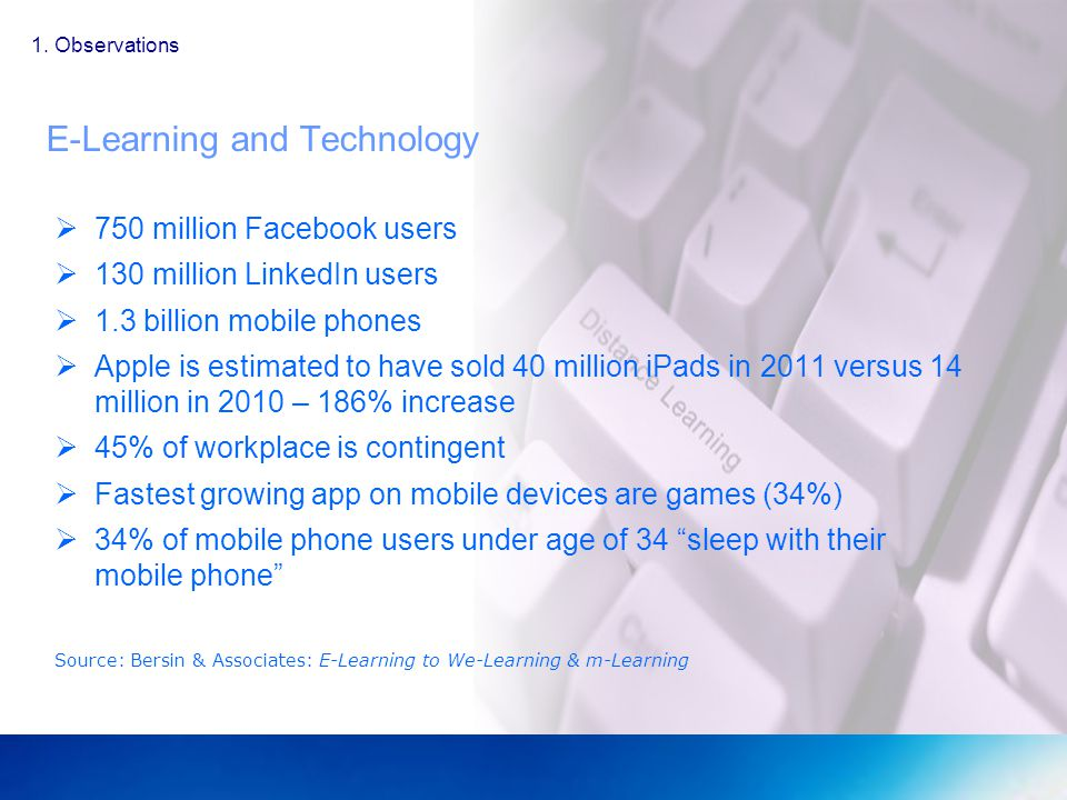 E-Learning and Technology 750 million Facebook users 130 million LinkedIn users 1.3 billion mobile phones Apple is estimated to have sold 40 million iPads in 2011 versus 14 million in 2010 – 186% increase 45% of workplace is contingent Fastest growing app on mobile devices are games (34%) 34% of mobile phone users under age of 34 sleep with their mobile phone Source: Bersin & Associates: E-Learning to We-Learning & m-Learning 1.