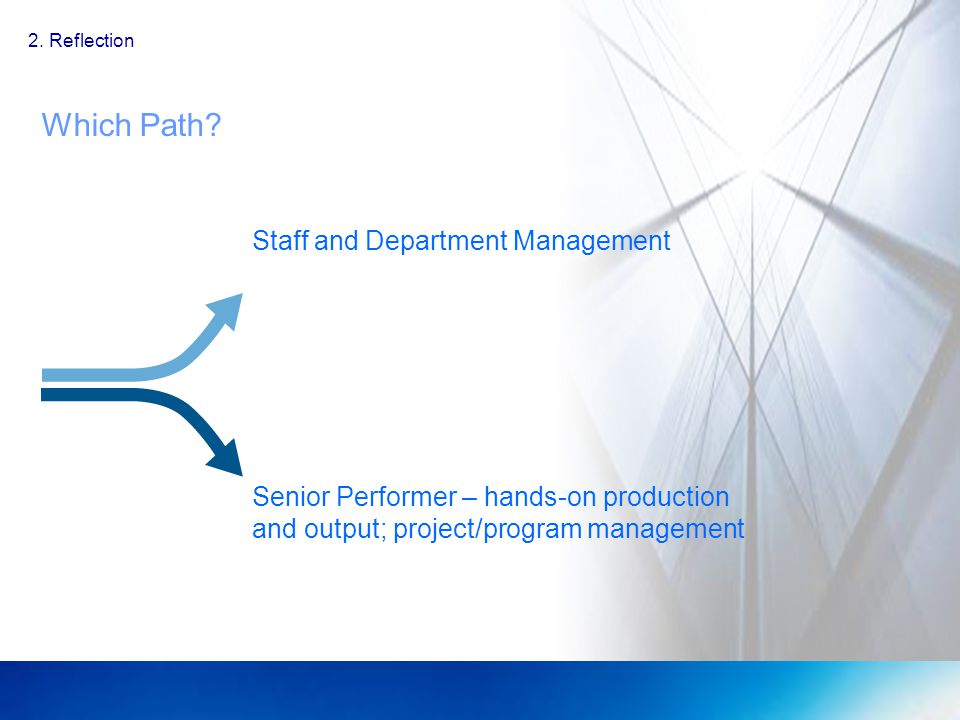 Which Path? 2. Reflection Staff and Department Management Senior Performer – hands-on production and output; project/program management