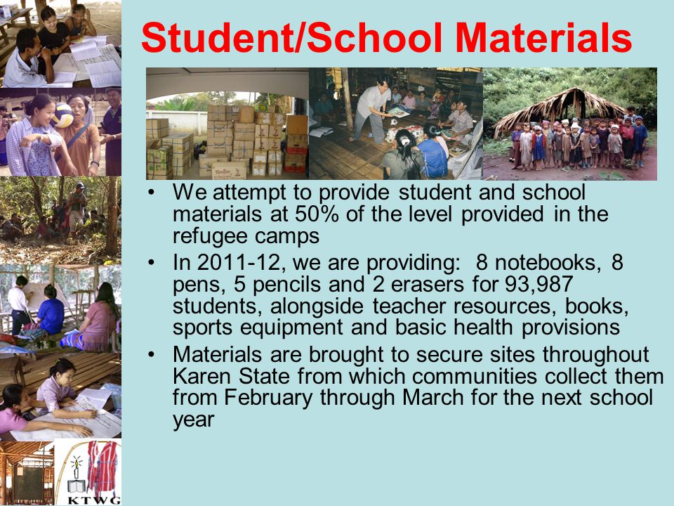 Student/School Materials We attempt to provide student and school materials at 50% of the level provided in the refugee camps In 2011-12, we are provi
