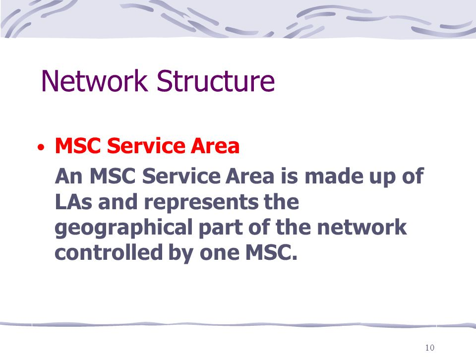 10 Network Structure MSC Service Area An MSC Service Area is made up of LAs and represents the geographical part of the network controlled by one MSC.