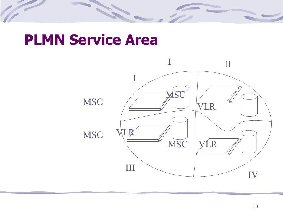 13 PLMN Service Area V MSC VLR I II IV III I