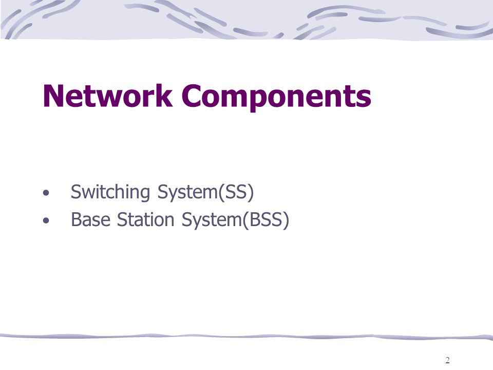 2 Network Components Switching System(SS) Base Station System(BSS)