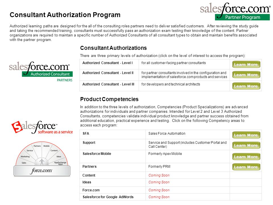 Consultant Authorization Program Consultant Authorizations There are three primary levels of authorization (click on the level of interest to access the program): Product Competencies In addition to the three levels of authorization, Competencies (Product Specializations) are advanced authorizations for individuals and partner companies.