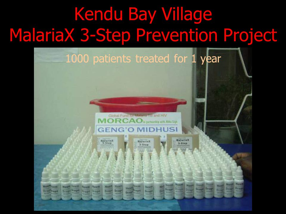 Kendu Bay Village MalariaX 3-Step Prevention Project 1000 patients treated for 1 year
