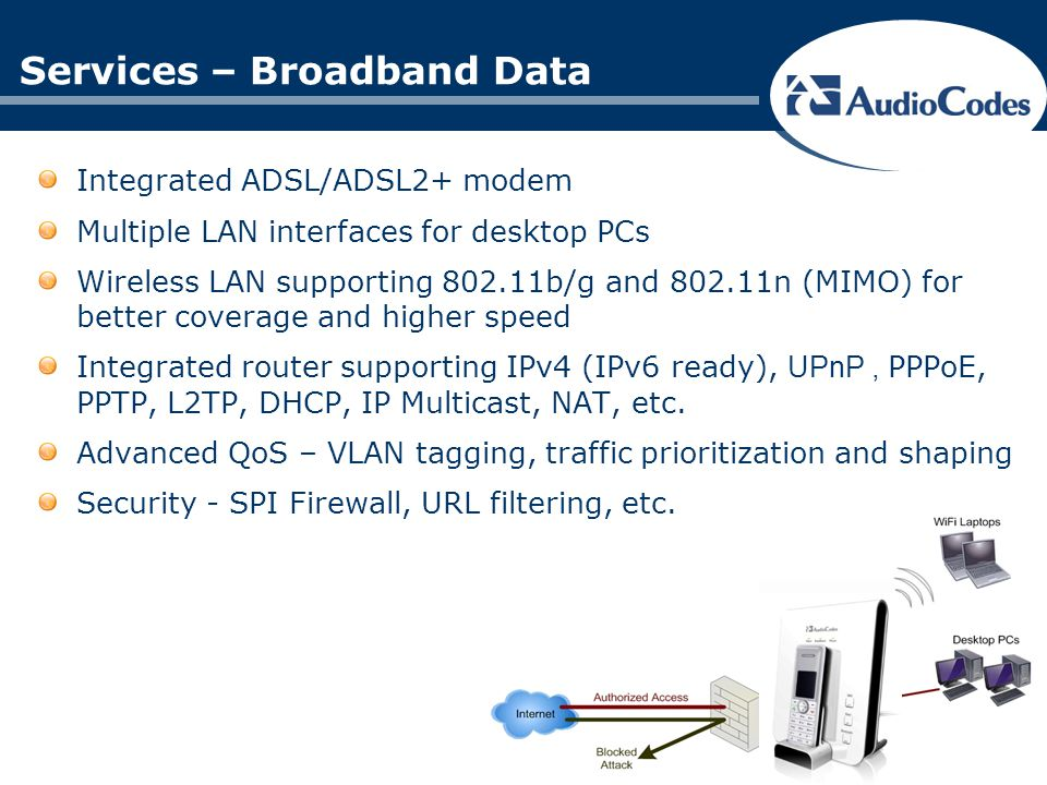 2 analog ports for phones and Fax support Integrated DECT supporting up to 6 handsets with HDVoIP (CAT- iq certified) Handset options ANY GAP compliant handset AudioCodes handset with proprietary support for advanced features SIP based Home PBX – Interoperable with leading Softswitches Up to 6 phone numbers with flexible assignment to DECT extensions Call Waiting, Call Hold, Call Transfer, Call Forward, Hot Line, 3-Way Conference with local mixing, Network 3-Way Conference, etc.