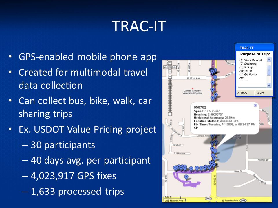 TRAC-IT GPS-enabled mobile phone app Created for multimodal travel data collection Can collect bus, bike, walk, car sharing trips Ex. USDOT Value Pric