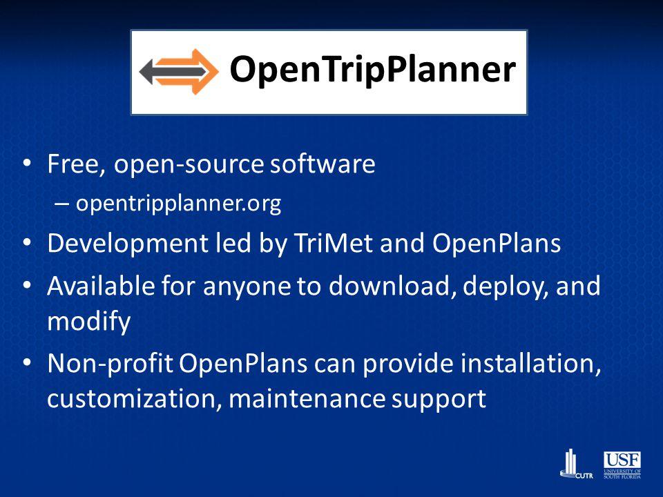 OpenTripPlanner = Multimodal USFs OTP Demo for Tampa, Fl - http://opentripplanner.usf.edu – Example: Bike->Bus->Bike