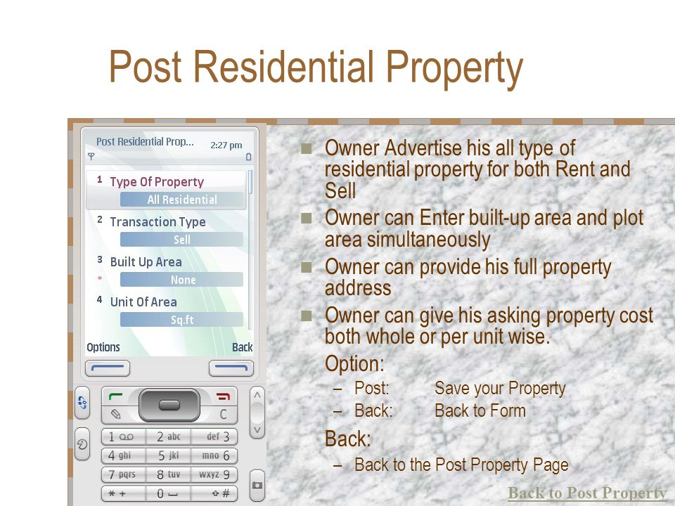 Post Residential Property Owner Advertise his all type of residential property for both Rent and Sell Owner can Enter built-up area and plot area simu