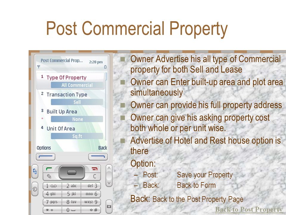 Post Commercial Property Owner Advertise his all type of Commercial property for both Sell and Lease Owner can Enter built-up area and plot area simul