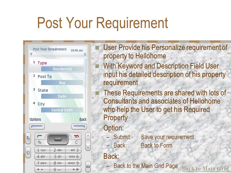 Post Your Requirement User Provide his Personalize requirement of property to Hellohome With Keyword and Description Field User input his detailed des