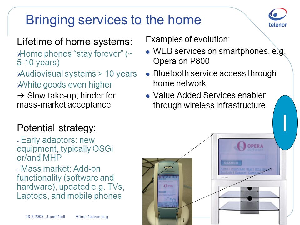 26.8.2003, Josef NollHome Networking12 Bringing services to the home Lifetime of home systems: Home phones stay forever (~ 5-10 years) Audiovisual systems > 10 years White goods even higher Slow take-up; hinder for mass-market acceptance Potential strategy: - Early adaptors: new equipment, typically OSGi or/and MHP - Mass market: Add-on functionality (software and hardware), updated e.g.