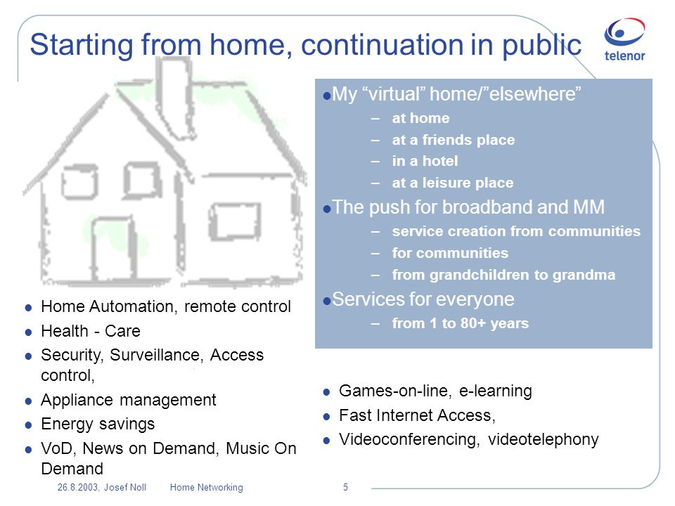 26.8.2003, Josef NollHome Networking16 User view: Service elements Context communicate Services adapted to People Sensors PAN comm.