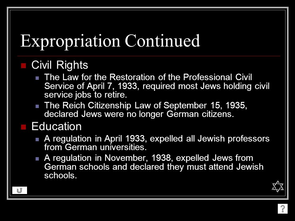 Expropriation Continued Civil Rights The Law for the Restoration of the Professional Civil Service of April 7, 1933, required most Jews holding civil service jobs to retire.
