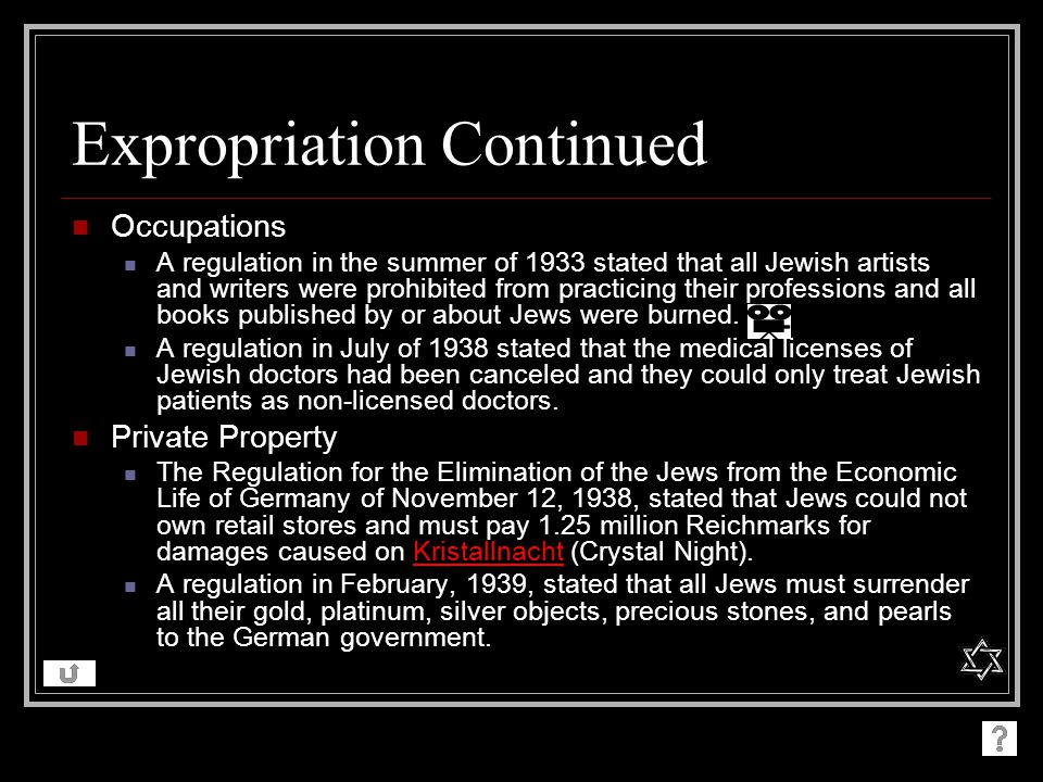 Expropriation Continued Occupations A regulation in the summer of 1933 stated that all Jewish artists and writers were prohibited from practicing their professions and all books published by or about Jews were burned.