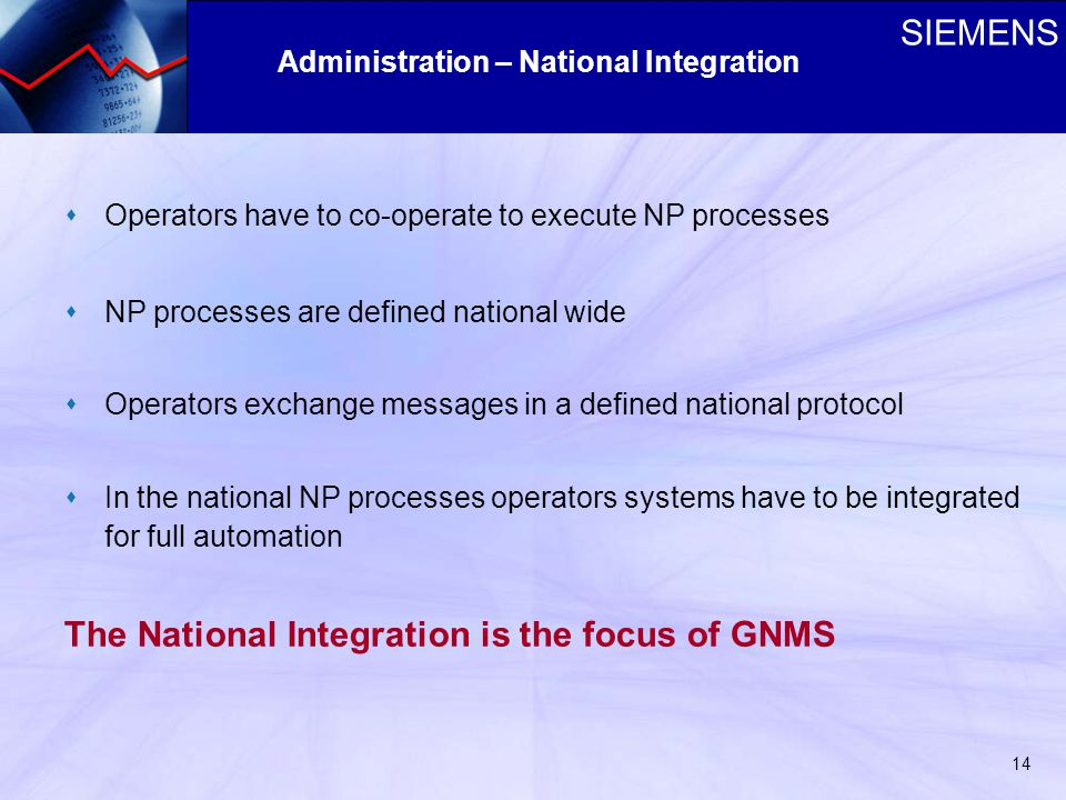 SIEMENS 14 sOperators have to co-operate to execute NP processes sNP processes are defined national wide sOperators exchange messages in a defined national protocol sIn the national NP processes operators systems have to be integrated for full automation The National Integration is the focus of GNMS Administration – National Integration