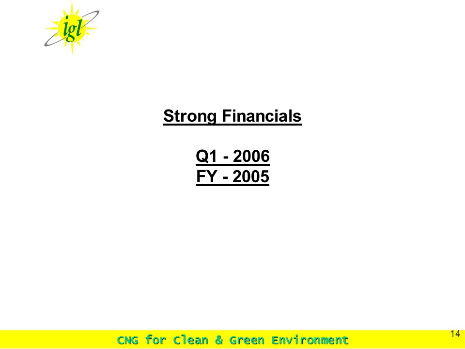 CNG for Clean & Green Environment 14 Strong Financials Q1 - 2006 FY - 2005