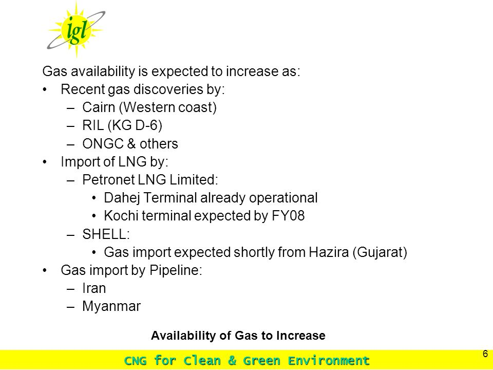 CNG for Clean & Green Environment 6 Availability of Gas to Increase Gas availability is expected to increase as: Recent gas discoveries by: –Cairn (Western coast) –RIL (KG D-6) –ONGC & others Import of LNG by: –Petronet LNG Limited: Dahej Terminal already operational Kochi terminal expected by FY08 –SHELL: Gas import expected shortly from Hazira (Gujarat) Gas import by Pipeline: –Iran –Myanmar