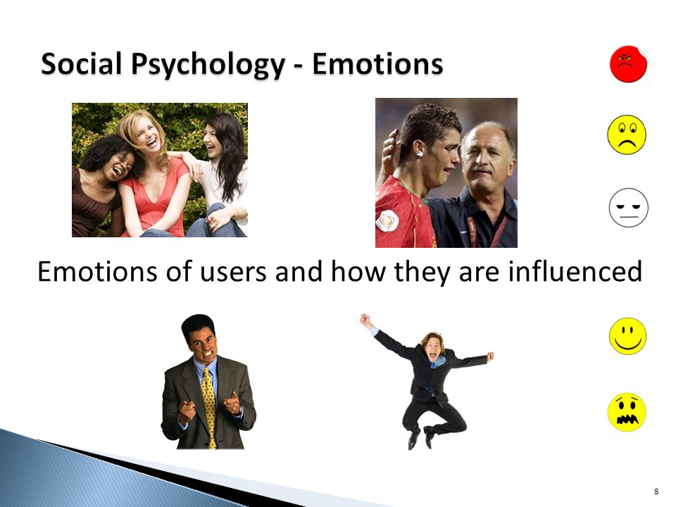 Emotions of users and how they are influenced 8
