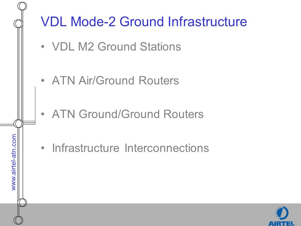 www.airtel-atn.com VDL Mode-2 Ground Infrastructure VDL M2 Ground Stations ATN Air/Ground Routers ATN Ground/Ground Routers Infrastructure Interconnec