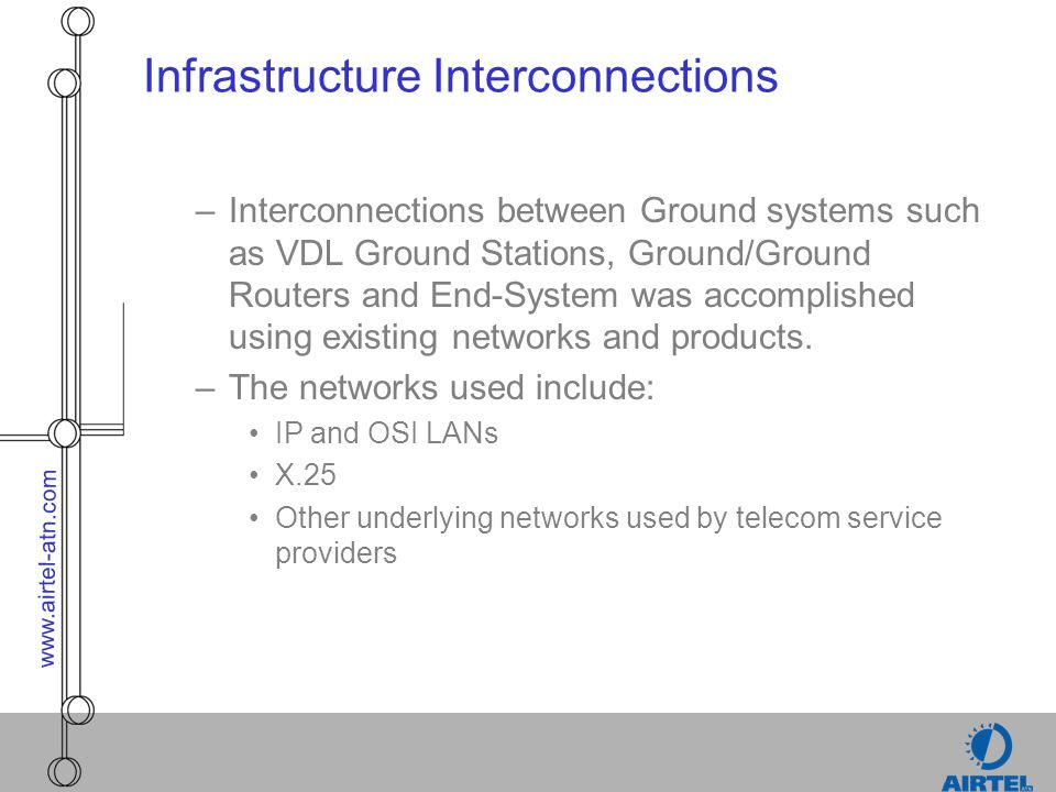 www.airtel-atn.com Infrastructure Interconnections –Interconnections between Ground systems such as VDL Ground Stations, Ground/Ground Routers and End
