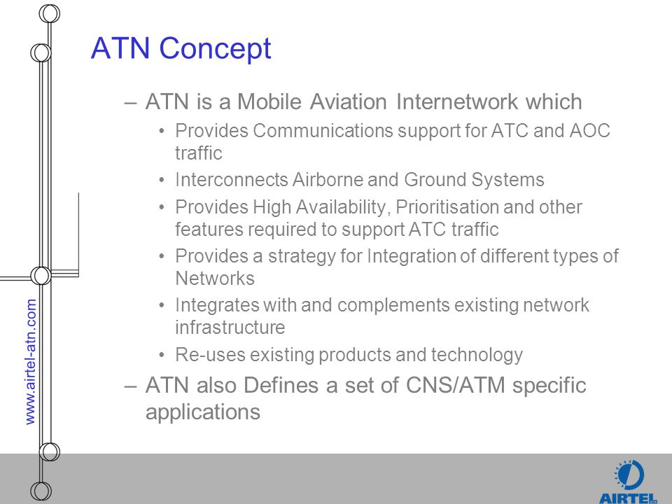 www.airtel-atn.com ATN Concept –ATN is a Mobile Aviation Internetwork which Provides Communications support for ATC and AOC traffic Interconnects Airb