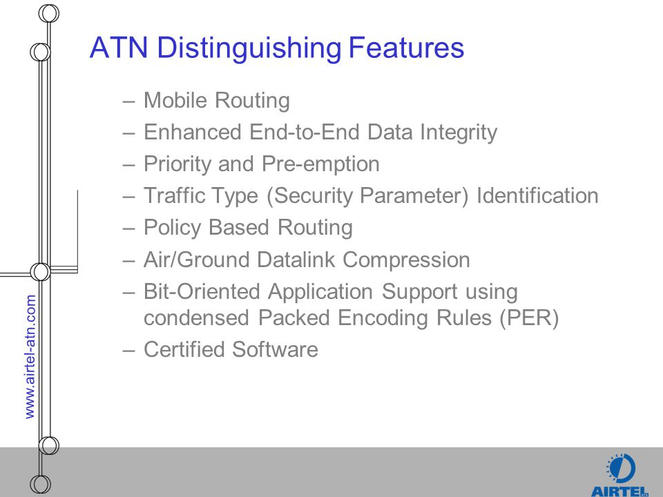 www.airtel-atn.com Future Direction of ATC Datalink Technologies –Co-existence of ATN/IP IP and ATN Traffic sharing same networks and datalinks where permitted IP used for Airline and Passenger Communications Standardised IP Sub-network to enable use of existing public and private IP networks within the ATN –Additional Sub-Network Support VDLM4/VDLM3 as ATN Sub-Networks Spread Spectrum CDMA SATCOM Broadband Network Wireless LAN Gatelink