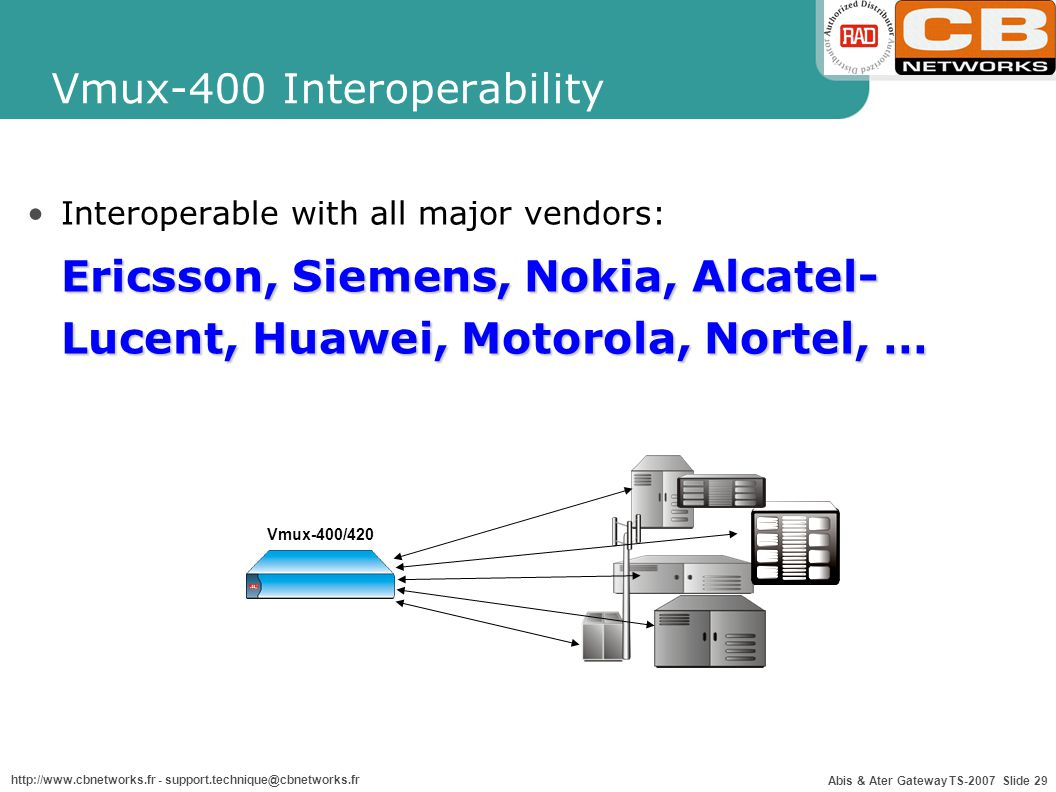 Abis & Ater Gateway TS-2007 Slide 29 http://www.cbnetworks.fr - support.technique@cbnetworks.fr Vmux-400 Interoperability Interoperable with all major vendors: Ericsson, Siemens, Nokia, Alcatel- Lucent, Huawei, Motorola, Nortel, … Vmux-400/420