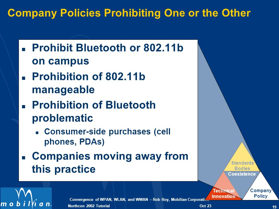 Convergence of WPAN, WLAN, and WWAN – Rob Roy, Mobilian Corporation 19 Oct 23 2002 Northcon 2002 Tutorial Coexistence Technical Innovation Standards Bodies Company Policies Prohibiting One or the Other n Prohibit Bluetooth or 802.11b on campus n Prohibition of 802.11b manageable n Prohibition of Bluetooth problematic n Consumer-side purchases (cell phones, PDAs) n Companies moving away from this practice Company Policy
