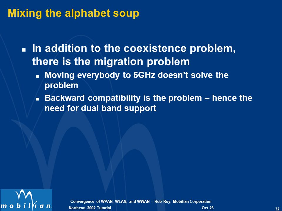Convergence of WPAN, WLAN, and WWAN – Rob Roy, Mobilian Corporation 32 Oct 23 2002 Northcon 2002 Tutorial Mixing the alphabet soup n In addition to th