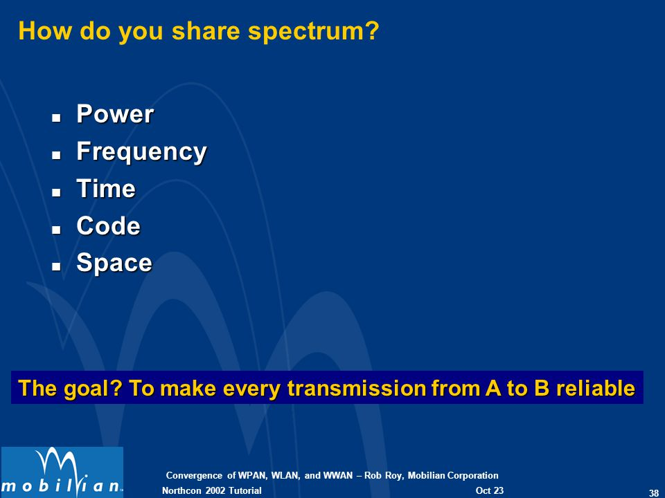 Convergence of WPAN, WLAN, and WWAN – Rob Roy, Mobilian Corporation 38 Oct 23 2002 Northcon 2002 Tutorial How do you share spectrum? n Power n Frequen