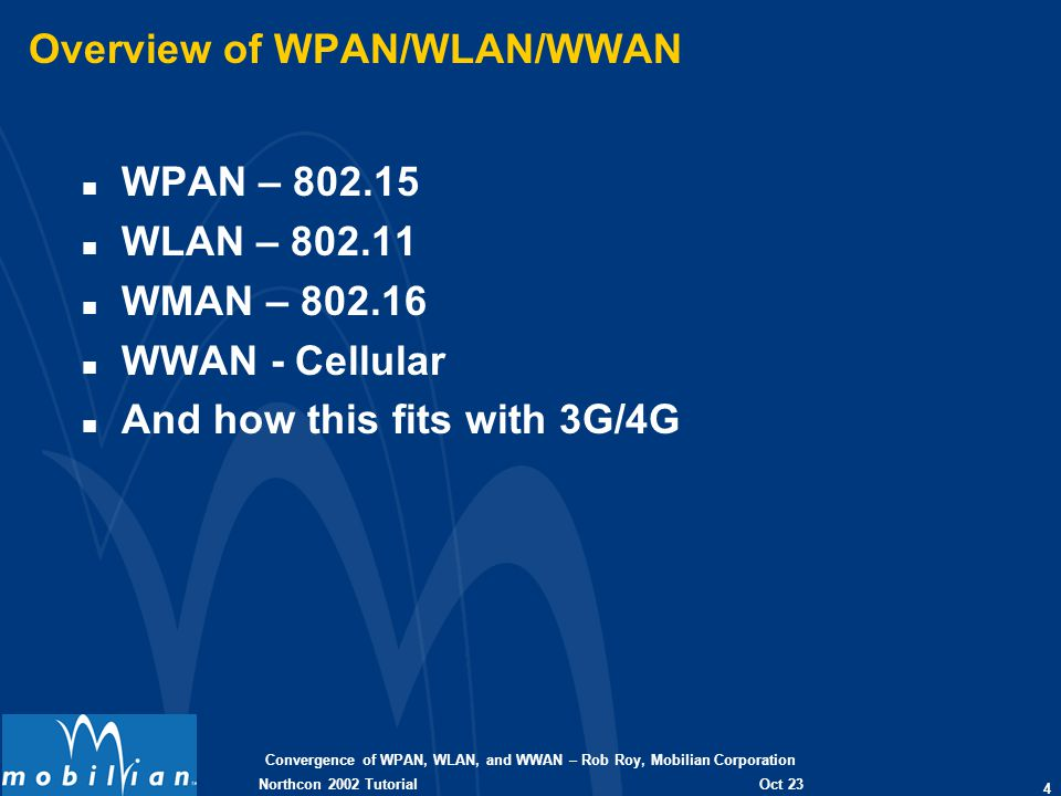 Convergence of WPAN, WLAN, and WWAN – Rob Roy, Mobilian Corporation 4 Oct 23 2002 Northcon 2002 Tutorial Overview of WPAN/WLAN/WWAN n WPAN – 802.15 n WLAN – 802.11 n WMAN – 802.16 n WWAN - Cellular n And how this fits with 3G/4G
