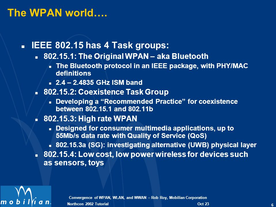 Convergence of WPAN, WLAN, and WWAN – Rob Roy, Mobilian Corporation 6 Oct 23 2002 Northcon 2002 Tutorial The WPAN world…. n IEEE 802.15 has 4 Task gro