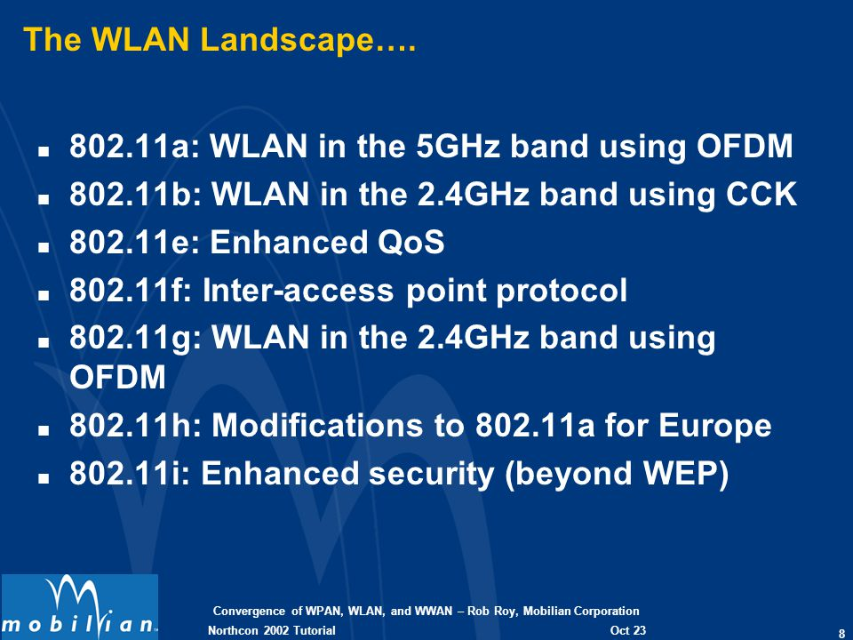 Convergence of WPAN, WLAN, and WWAN – Rob Roy, Mobilian Corporation 29 Oct 23 2002 Northcon 2002 Tutorial Collaborative Coexistence n Collaborative switching (time division model) n Potential improvements at the expense of performance n Driver layer collaboration n Switch between independent implementations n Easiest to implement, poorest performance (no BT SCO) n MAC layer collaboration (TDMA) n Switching between MACs on either traffic or time interrupt n Improves performance, still may not allow BT SCO n Enhanced MAC collaboration (Mobilian proposal to 802.15) n Share information about what is happening now and next n Prioritize packets by traffic type n Defer conflicting packets where allowed by their protocol n Allows BT SCO with some WLAN degradation n When combined with PHY collaboration, allows Sim-Op