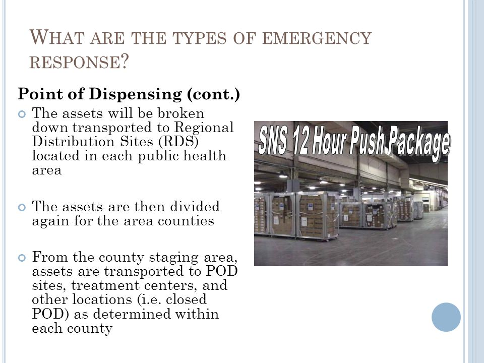 Point of Dispensing (cont.) The assets will be broken down transported to Regional Distribution Sites (RDS) located in each public health area The assets are then divided again for the area counties From the county staging area, assets are transported to POD sites, treatment centers, and other locations (i.e.