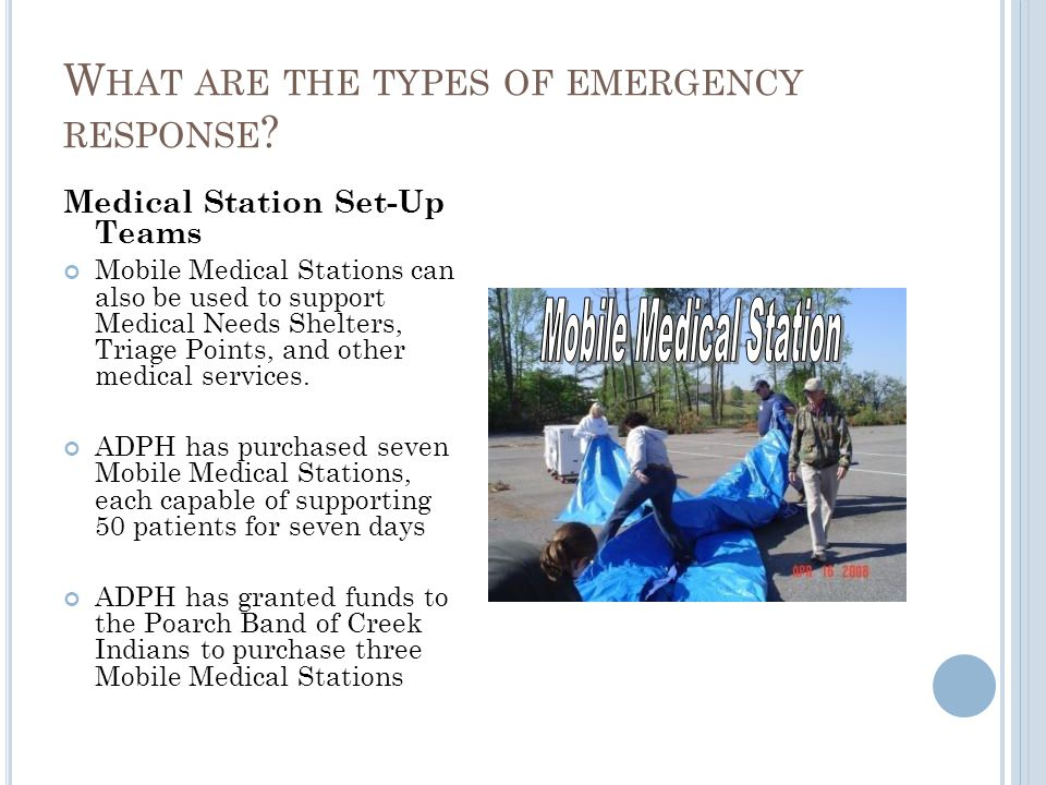 Medical Station Set-Up Teams Mobile Medical Stations can also be used to support Medical Needs Shelters, Triage Points, and other medical services. AD
