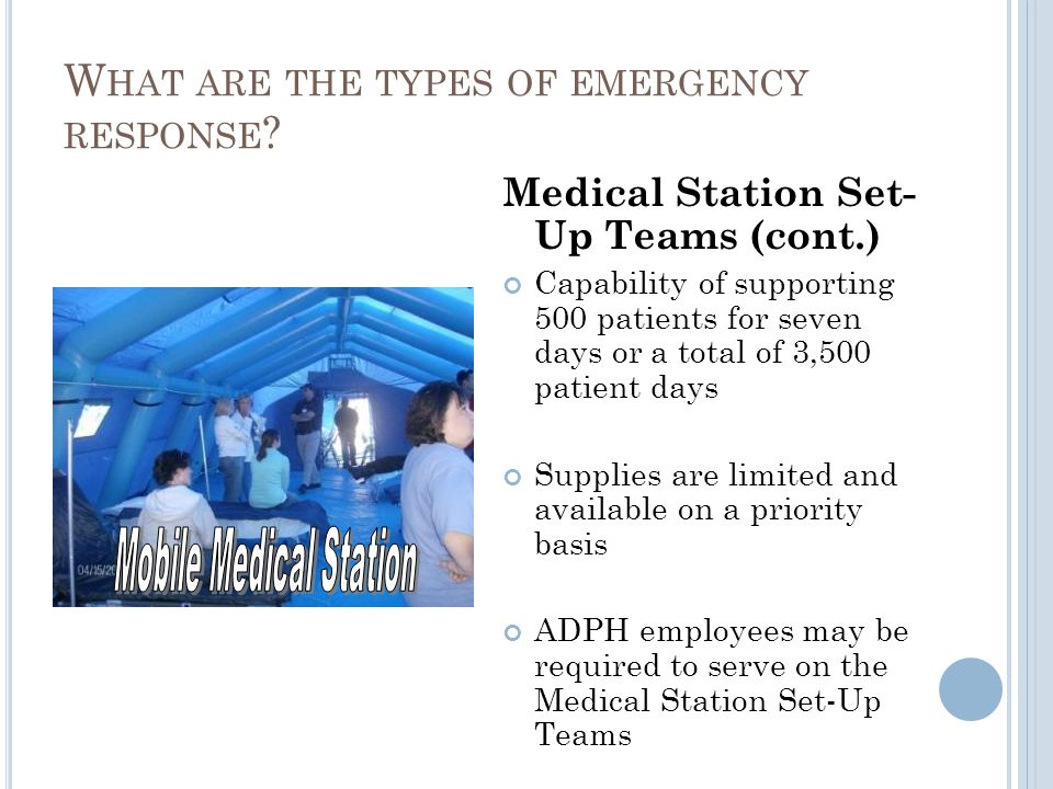 Medical Station Set- Up Teams (cont.) Capability of supporting 500 patients for seven days or a total of 3,500 patient days Supplies are limited and available on a priority basis ADPH employees may be required to serve on the Medical Station Set-Up Teams W HAT ARE THE TYPES OF EMERGENCY RESPONSE