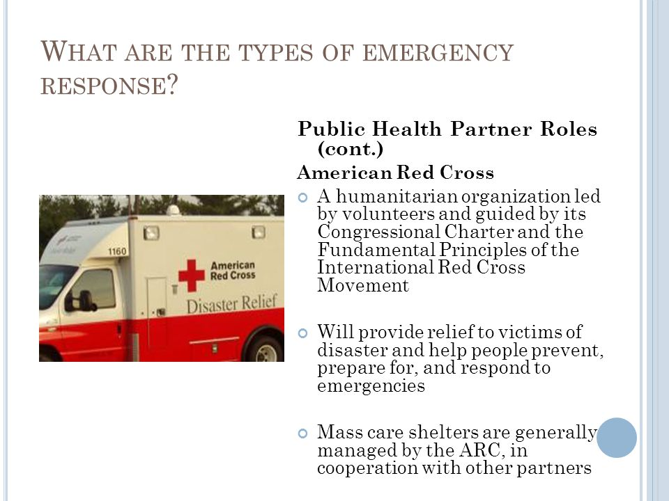 Public Health Partner Roles (cont.) American Red Cross A humanitarian organization led by volunteers and guided by its Congressional Charter and the Fundamental Principles of the International Red Cross Movement Will provide relief to victims of disaster and help people prevent, prepare for, and respond to emergencies Mass care shelters are generally managed by the ARC, in cooperation with other partners W HAT ARE THE TYPES OF EMERGENCY RESPONSE ?